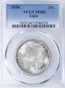 1936 COMMEMORATIVE HALF PCGS MS66 ELGIN