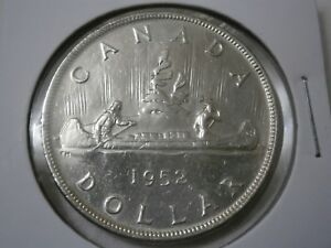 1952 CANADIAN SILVER DOLLAR    WATER LINES   406 148 MINTED