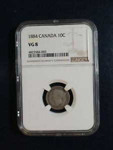 1884 CANADA TEN CENTS NGC VG8 SILVER 10C COIN PRICED TO SELL NOW