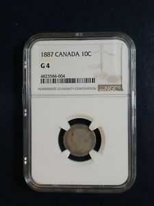 1887 CANADA TEN CENTS NGC GOOD 4 SILVER 10C COIN PRICED TO SELL NOW