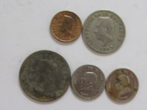 LOT OF 5 DIFFERENT OLD EL SALVADOR COINS   1963 TO 1975   CIRCULATED
