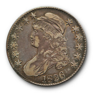 1826 50C CAPPED BUST HALF DOLLAR EXTRA FINE XF ORIGINAL TONED US COIN 3252