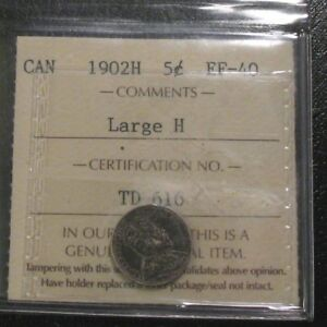 OLD CANADIAN COINS 1902 H LARGE H CANADA FIVE CENTS