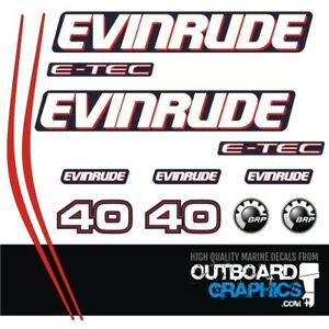 2004 2005 2006 2007 2008 Stickers Evinrude 40hp E-Tec Outboard Decal Kit