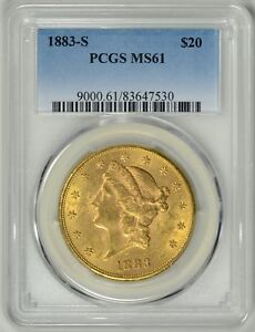 1883 S  $20 GOLD LIBERTY  PCGS  MS61     BETTER DATE     83647530