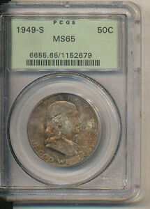 1949 S NGC MS65 SILVER FRANKLIN HALF DOLLAR INTERESTING TONE   COLOR OLD GREEN H