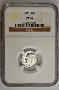 1953 10C SILVER PROOF ROOSEVELT DIME NGC PF 66