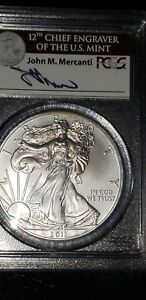 Click now to see the BUY IT NOW Price! 2011 W MS 70 SILVER EAGLE JOHN M. MERCANTI SIGNED. PART OF THE 25TH YEAR SET.