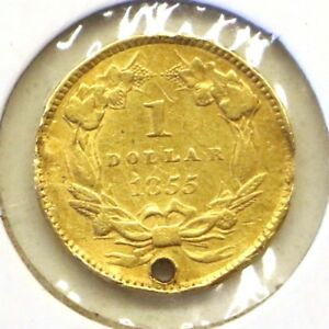 1855 TYPE 2 $1 SMALL HEAD INDIAN PRINCESS GOLD DOLLAR: HOLED