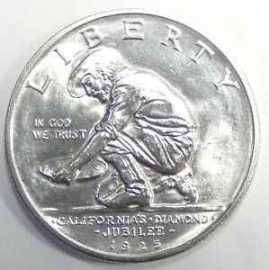 1925 S CA DIAMOND JUBILEE SILVER COMMEMORATIVE HALF DOLLAR NICE BRILLIANT UNC