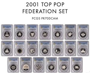 Click now to see the BUY IT NOW Price! 2001 AUSTRALIAN COMPLETE TOP POPULATION FEDERATION SET PR70DCAM   PCGS GRADED