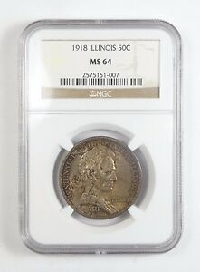 1918 ILLINOIS/LINCOLN CENTENNIAL SILVER COMMEMORATIVE NGC MS 64 50 CENTS