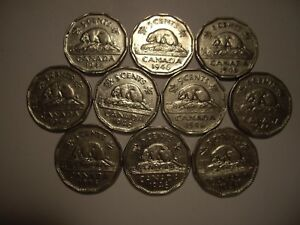 CANADA GEORGE VI 1946 FIVE CENTS   LOT OF 10 COINS