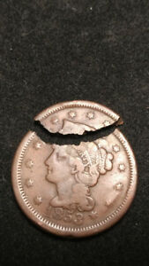 1C 1853 LARGE CENT DEFECTIVE PLANCHET BROKEN AFTER STRIKE U.S. MINT ERROR