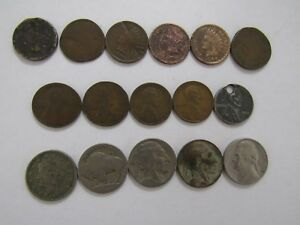 LOT OF 16 DIFFERENT OLD UNITED STATES COINS   1860S TO 1964   CIRCULATED