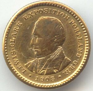 1905 LEWIS AND CLARK EXPOSITION GOLD COMMEMORATIVE DOLLAR XF DETAILS