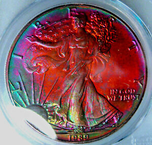 1989 RAINBOW TONED SILVER EAGLE PCGS MS66 QA BEAN ABSOLUTE MONSTER TONER AMAZING