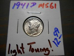 1941 D MERCURY DIME   LIGHT TONING  2931