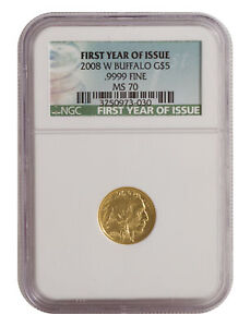 2008 W $5 1/10OZ BURNISHED AMERICAN GOLD BUFFALO MS70 NGC   FIRST YEAR OF ISSUE