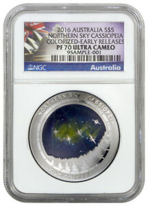 Click now to see the BUY IT NOW Price! 2016 AUSTRALIA SILVER $5   NORTHERN SKY   CASSIOPEIA   PF70 UC ER   NGC COIN