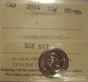 CANADA ELIZABETH II 2014 TEN CENTS   ICCS MS 66