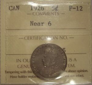 CANADA GEORGE V 1926 NEAR 6 FIVE CENTS   ICCS F 12