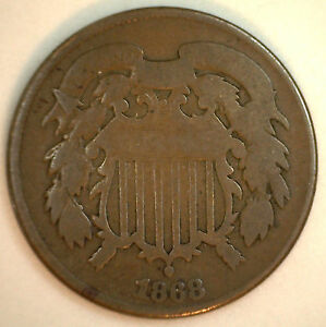 1868 2 CENTS UNITED STATES TYPE COIN COPPER TWO CENT GOOD  G  Y3