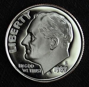 1987 S PROOF ROOSEVELT DIME DEEP MIRRORS  FRESH FROM PROOF SET