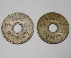 1954 LOT OF 2 FIJI ONE PENNY COIN