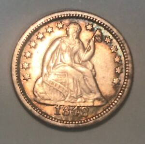 1848  O. SEATED LIBERTY HALF DIME  XF
