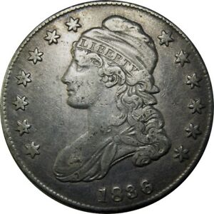 1836 50C CAPPED BUST HALF DOLLAR BEADED REVERSE O 106A  OLD TYPE COIN CS112