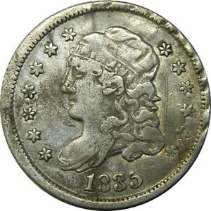 1835 H10C CAPPED BUST HALF DIME DETAILS COIN  OLD TYPE COIN CS118