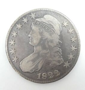 1822 CAPPED BUST/LETTERED EDGE HALF DOLLAR FINE SILVER 50 CENTS