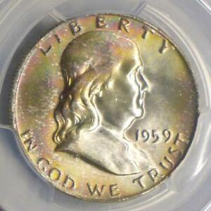 1959 D PCGS MS64 FULL BELL LINE FRANKLIN SILVER HALF MS 64 FBL NICE COLOR TONE