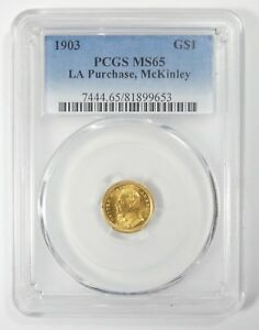 1903 LOUISIANA PURCHASE/MCKINLEY EXPOSITION COMMEMORATIVE GOLD $1 PCGS MS 65