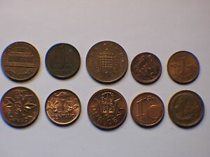 10 DIFFERRENT WORLD PENNI CENT PENNY CENTAVO COINS LOT OF  10  ONE CENT 1C
