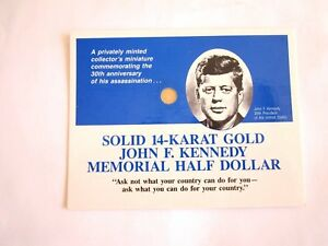 2 1 1:14K SOLID GOLD US$0.5 COIN JFK KENNEDY 30TH ANNIVERSARY 1 OLD CENT COIN US