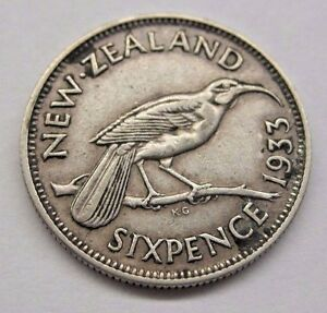 1933 NEW ZEALAND SIXPENCE.  SEE DETAILS & PICTURES.