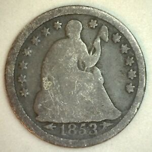 1853 SEATED LIBERTY HALF DIME UNITED STATES SILVER COIN YOU GRADE YG