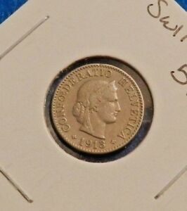 1913 SWITZERLAND 5 RAPPEN NICE OLD COIN   SEE PICS