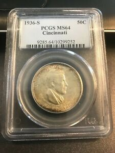 1936  S  CINCINNATI SILVER COMMORATIVE HALF PCGS MS64