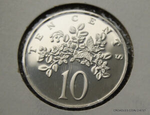 1976 JAMAICA 10 CENT  PROOF FROM A PROOF SET  WORLD AS IMAGED  BCV70