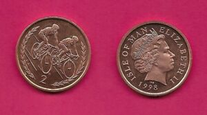 ISLE OF MAN BRITISH DEPENDENCY 2 PENCE 1998 PMAA UNC TWO BICYCLISTS WITHIN SPRIG