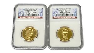 BUNDLE OF TWO  2  15TH 16TH PRESIDENT DOLLAR COINS $1 NGC PF69 ULTRA CAMEO