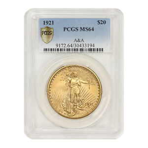 Click now to see the BUY IT NOW Price! 1921 $20 GOLD SAINT GAUDENS PCGS MS64 A&A