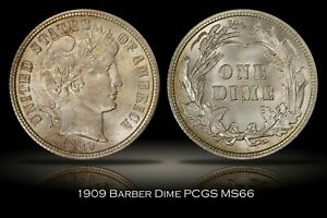 Click now to see the BUY IT NOW Price! 1909 BARBER DIME PCGS MS66 BRIGHT LUSTROUS FLASHY EXAMPLE 10C
