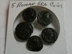 5 SMALL ROMAN ERA COINS  UNIDENTIFIED IMAGES