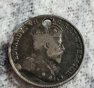 1904 CANADIAN 5 CENT COIN WITH HOLE FROM NECKLACE