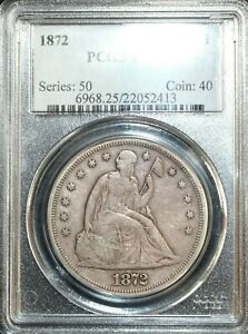 1872 SEATED LIBERTY SILVER DOLLAR PCGS VF25  WITH MOTTO VARIETY