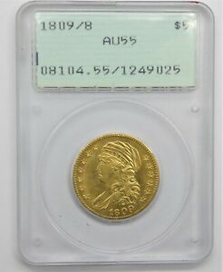 1809/8 CAPPED BUST $5 LIBERTY GOLD AU55 FIRST GEN HOLDER    EARLY RATTLER